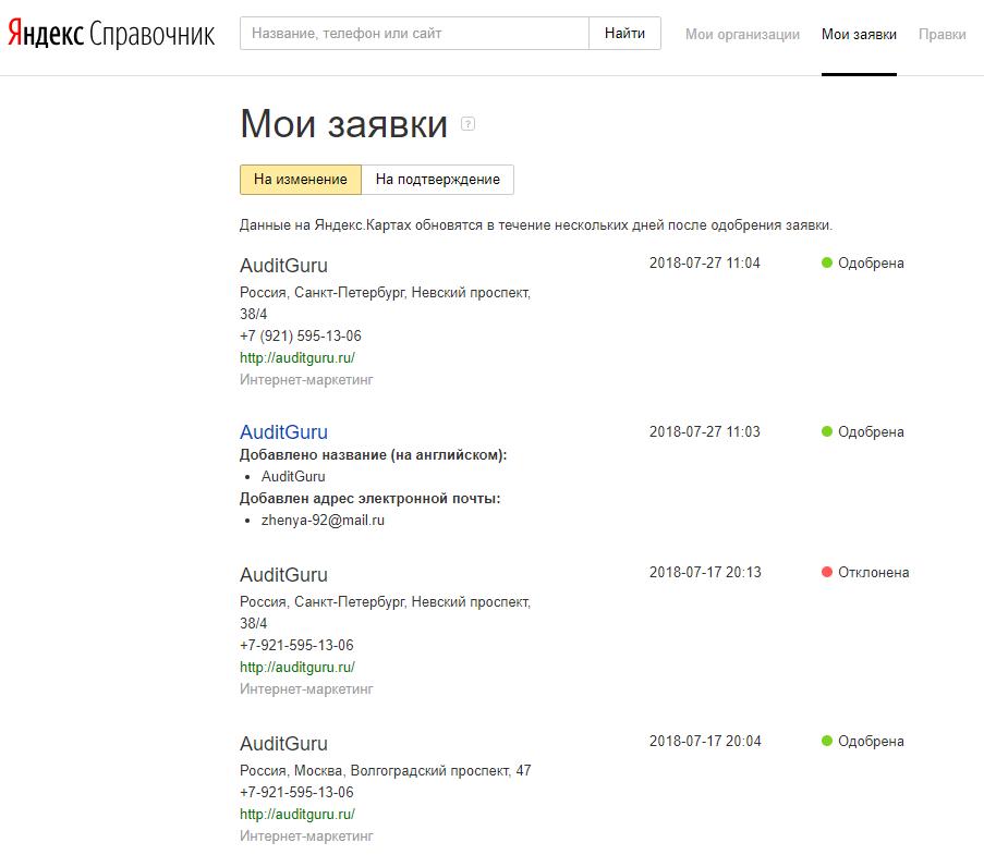 Заявки в Яндекс Справочник
