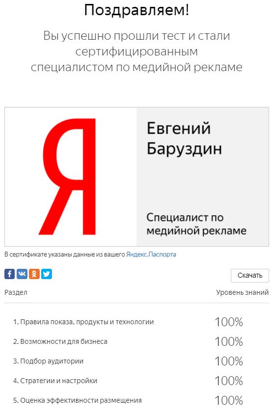 Результаты прохождения текста по медийной рекламе